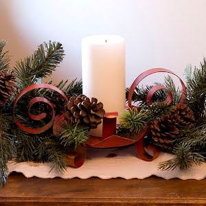 vintage red metal Christmas Candle Holder