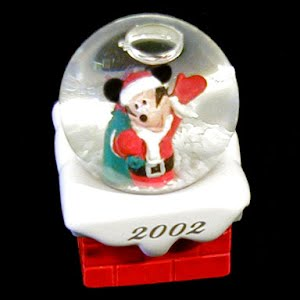 Vintage 2002 Mickey Mouse Snow Globe Christmas Ornament