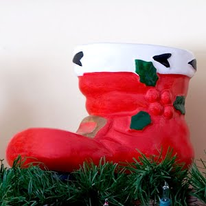 Vintage Large Red Pottery Christmas Santa Boot