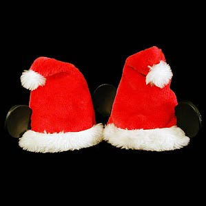 Vintage Red Mickey Mouse Christmas Santa Hats with fur trim