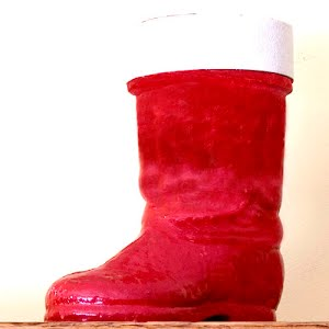Vintage Large Red Paper Mache  Christmas Santa Boot