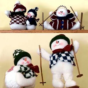 Vintage Felt Stuffed Christmas Snowmen skiing with hat, scarf, vest