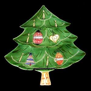 Vintage Green Porcelain Christmas Tree Plate