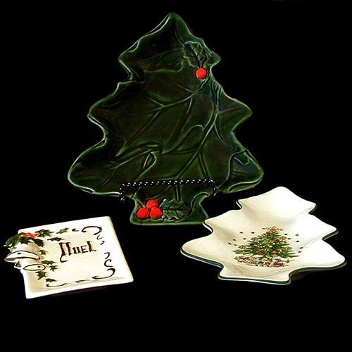 Vintage Pottery Christmas Tree Trays