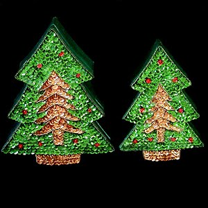 Vintage Green Satin and Sequined Christmas Tree Boxes