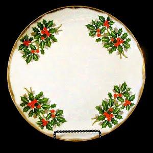 Vintage Porcelain Holly Luster Christmas Plate