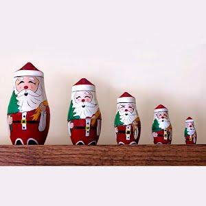 Vintage nesting Santa Dolls 5 pieces
