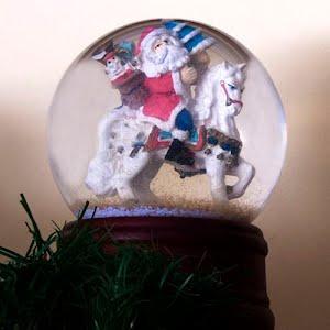 Vintage Snow globe Santa on a Horse