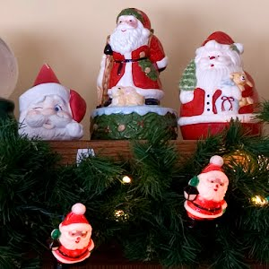 Vintage plastic Santa twinkle light covers