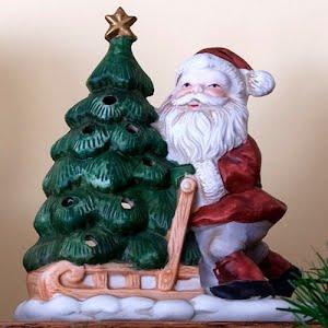 Vintage Ceramic Santa with Tree Candle Lantern Figurine