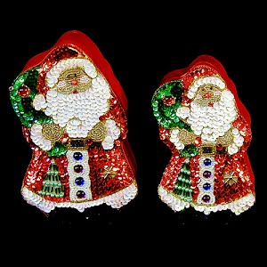 Vintage Satin and Sequined Santa Boxes