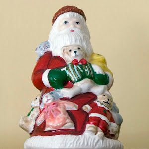 Vintage Ceramic Santa Bell with Bunny Slipper Feet for a Clapper