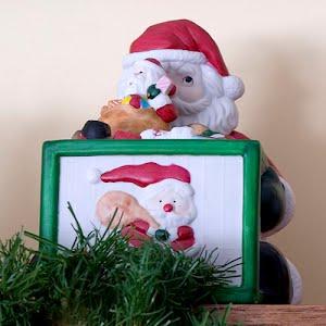Vintage Pottery Santa Musical Toy Box with Dancing Santa