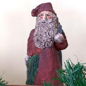 Vintage Santa Figurine. Poly Stone