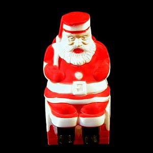 Vintage Plastic light Up Sitting Santa