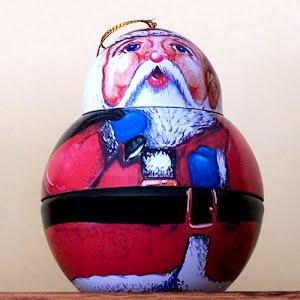 Vintage Tin Santa Ornament that pulls apart to hold surprises