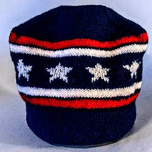 Hand Knitted Navy, White, and Red Stocking Cap with Stars
