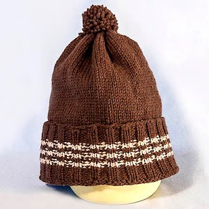 Hand Knitted Brown and Tan Stocking Cap with Pom Pom