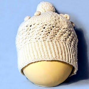 Hand Knitted Ecru Popcorn Stocking Cap with Pom Pom