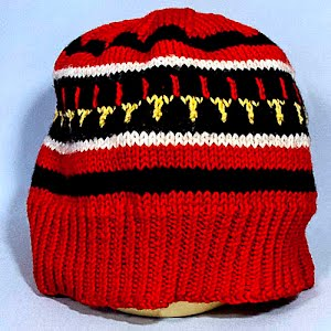 Hand Knitted Red, White, Yellow and Black Stocking Cap