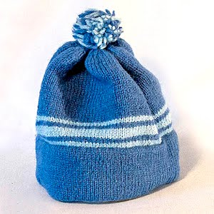 Hand Knitted dark blue and light blue Stocking Cap with Pom Pom
