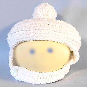 Hand Knitted  White Helmet Stocking Cap with Pom Pom