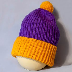 Hand Knitted Viking Colors Purple and Gold Stocking Cap with Pom Pom