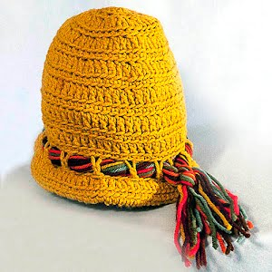 Hand Knitted Mustard Yellow Cloche Hat with tassel