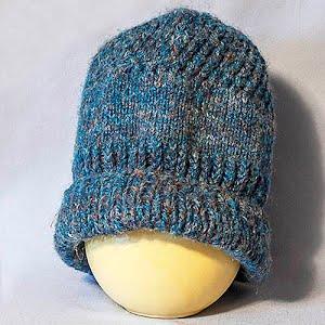 Hand Knitted Variegated blue to brown Stocking Cap