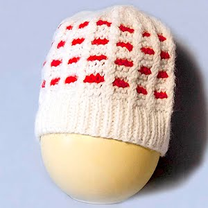 Hand Knitted White, and Red Helmet Cap