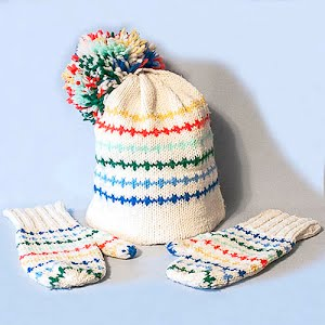 Hand Knitted White with stripes Stocking Cap with Pom Poms and matching mittens
