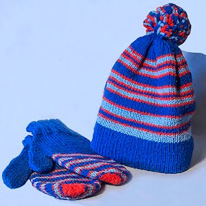 Hand Knitted Blue with red and light blue stripes Stocking Cap with Pom Poms and matching mittens