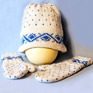 Hand Knitted White and Blue Stocking Cap with matching mittens