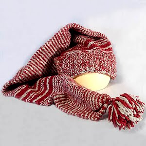 Hand Knitted Maroon with stripes Stocking Cap with Pom Poms and long tail to use as a scarf