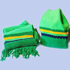 Hand Knitted Shades of Green and Yellow Stocking Ski Hat and matching scarf