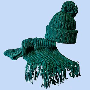 Hand Knitted dark Green Stocking Hat with pom pom and matching scarf