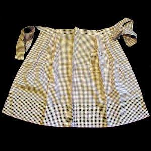 Vintage Handmade Violet Gingham Cross Stitched Apron