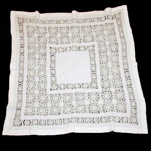 Antique Handmade Silk and Lace Cut work Tablecloth, Punto in Aria lace