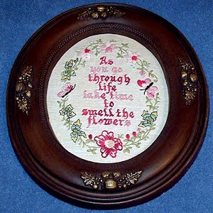 Framed Needlework, Take time to Smell the flowers