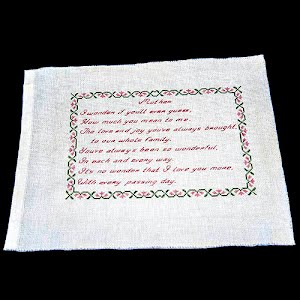 Embroidery Cross Stitch, Message to My Mother on linen
