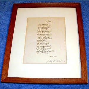Vintage Original Handwritten Poem