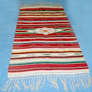 Antique Handwoven Mexican wool Rug or Serape