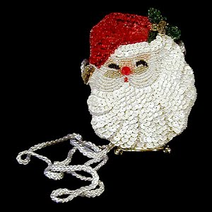 Handmade Small Sequined Santa Purse