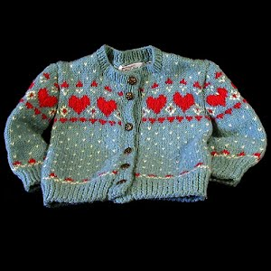 Hand Knit Childs Blue and White Sweater with Red Hearts