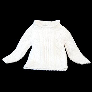 Hand Knit Childs Cable Knit Ecru Pullover Sweater