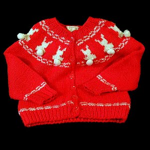 Hand Knit Childs Red Sweater with White Bunnies with puff tails