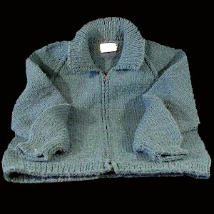 Hand Knit Childs Blue-Gray Sweater with Zipper Front