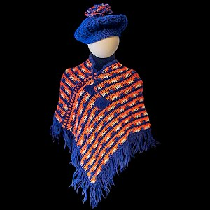 Hand Knit Childs Variegated yellow to orange Poncho or shawl with blue fringe and matching hat