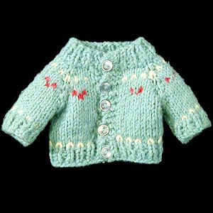 Hand knit blue dolls sweater with red and white design