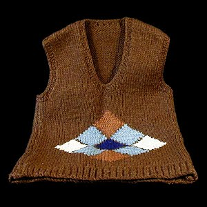 Variegated brown Sweater Vest with blue, white and brown diamonds